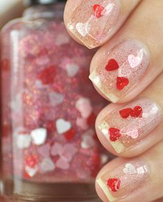 Smitten Red and Pink Heart Glitter Nail Polish by TheHungryAsian, $9.25 https://www.etsy.com/listing/174800567/smitten-red-and-pink-heart-glitter-nail?ref=related-2&is_wholesale=0
