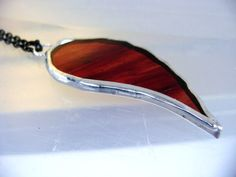 Bat Blood Red Wing Pendant Glass Necklace by GothicGlassStudio
