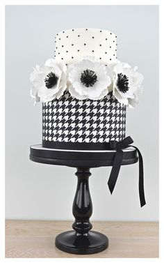 Elegant and stylish Black and White Houndstooth cake with Anemones