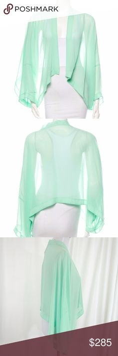Philosophy Sheer Mint Draped Kimono Cardigan Mint green Philosophy di Alberta Ferretti sheer cardigan with draped open front.  Perfect NWT Condition.  Great over casual wear for some breezy coverage or over a dress for a more formal event. Philosophy di Alberta Ferretti Sweaters Cardigans