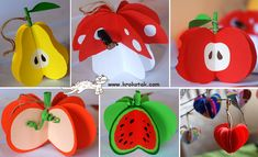 VIEW IN GALLERY How cute are these paper fruit ornaments ! Kids Crafts, Preschool Crafts, Projects For Kids, Diy And Crafts, Paper Crafts, Christmas Presents For Teachers, Paper Fruit, Origami, Fruit Crafts