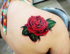3D red rose tattoo design