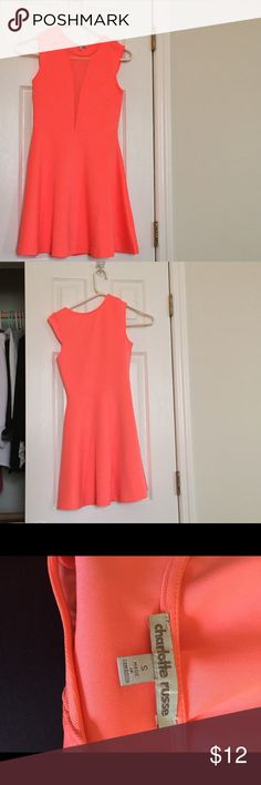 Neon Skater dress worn only once neon skater dress with mesh on chest Charlotte Russe Dresses