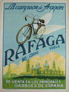 Rafaga Cycles Original vintage 1935 Spanish lithograph…