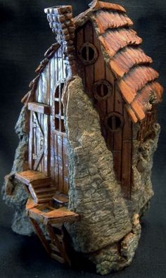 Cottonwood Bark Gnome House with trap door entrance.  Carved by N. Minske.