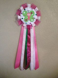 Beautiful Sparkly Pink & Green Butterfly Baby Shower Mum - Corsage - Hospital Door Decoration - Its A Girl -READY TO SHIP. $17.99, via Etsy.