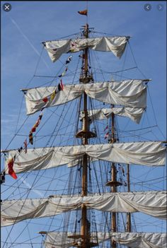 """doused sails (bunted up so that they don't hold any wind or move the ship, but ready to """"set"""" quickly to get the ship going again) Uss Constitution Model, War Of 1812, Wooden Ship, Tall Ships, Battleship, Sailing Ships, Billy Bones, Iron Men, Sirens"""