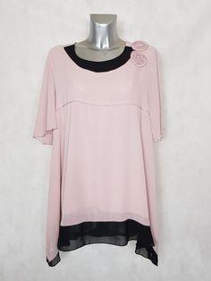 1dc9a433c81  Tunique femme  ronde évasée en  voile rose-noir manches courtes taille 48