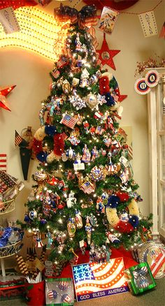 Patriotic Christmas Tree  Fourth of July Why not and Trees