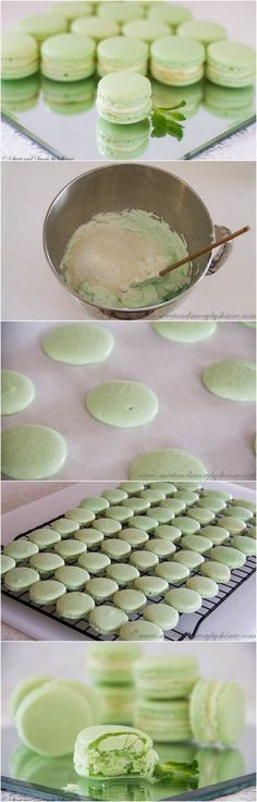Holiday cookie idea: --> Step-by-step photo recipe for minty french macaroons Storing suggestions by shines: Store the macarons in the fridge in airtight container. Just Desserts, Delicious Desserts, Yummy Food, French Desserts, French Food, Baking Recipes, Cookie Recipes, Dessert Recipes, Cupcakes