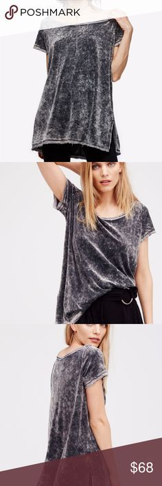 """Free People Doran High-Low T-Shirt, Black, Sz Sm Update your essentials with this casual T-shirt by We The Free Free People, faded and drapey for a perfectly worn-in appeal.   Scoop neckline  Pullover style  Short sleeves  Allover faded washed fabric; unfinished details  High-low hem with side vents  Hits below hip  Polyester/rayon  Machine washable   Measurements, taken laying flat:  Armpit to armpit: 22"""" (does stretch)  Top front center to hem: 23.5""""  Shoulder to bottom hem: 25.5"""" Free…"""