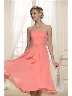 Charming Tiered Pleats Sweetheart Neckline Tea Length Bridesmaid Dresses