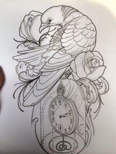 Love Tattoos, Hand Tattoos, Tattoos For Women, Tattoo Sketches, Tattoo Drawings, Time Piece Tattoo, Neo Traditional Art, Dragon Tattoo Drawing, Ozzy Tattoo