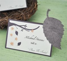 """Please Be Seeded"" Fall Leaf Design Plantable Seed Place Cards"