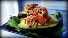 Pesto Tuna Salad Stuffed Avocados