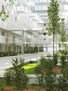 Housing at old Bordeaux submarine base boasts climate-controlled atrium filled with gardens