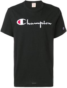 c6a079b2 Champion embroidered logo T-shirt Champion Logo, Black Cotton, Crew Neck,  Collar