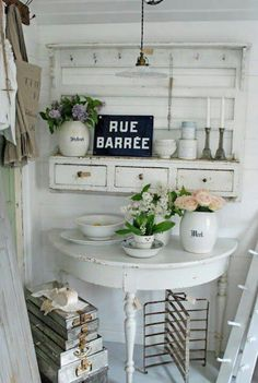 demilune table and hanging shelves...