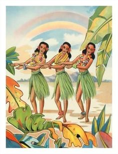 size: Giclee Print: Aloha Nui Loa from Hawaii - Hula Girls : This exceptional art print was made using a sophisticated giclée printing process, which deliver pure, rich color and remarkable detail. Hawaii Hula, Aloha Hawaii, Honolulu Hawaii, Hawaiian Girls, Vintage Hawaiian, Hawaiian Woman, Hawaiian Tribal, Vintage Surf, Betty Boop
