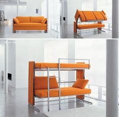 IMAGINE!!!The DOC sofa bed from UK company Bonbon is an elegant solution to the small-space conundrum. By day it's a regular-looking (and rather stylishly modern) sofa, but by night – or just when your old college roommates are visiting – it transforms into a bunk bed with room for two. As the video above demonstrates, the action to take the DOC from sofa to bunk bed is surprisingly simple.