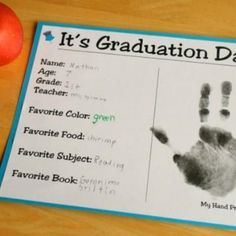 Printable Kids Graduation Certificate with Handprint - and I like the idea of changing it from graduation to just end of the year. Maybe even do it at the beginning of the year too?
