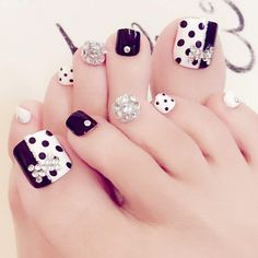 24 pcs dots pattern false toe nails for women