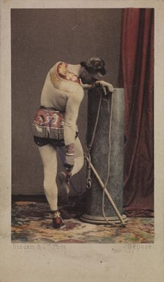 Monsieur Léotard with his trapeze, checking his plimsole, c.1865, Disdéri & Co., National Media Museum Collection