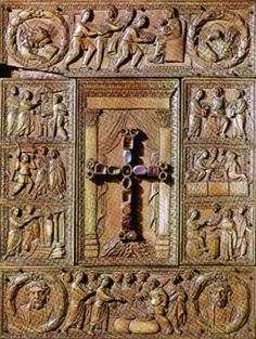 Ancient Scottish Art | 5th Century book cover, featuring a Christian cross, with semi ...