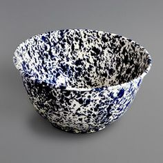 Large Marbled Enamel Salad Bowl Navy