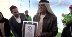 His Highness Saud bin Saqr Al Qasimi receives Guiness World Record for longest zipline.