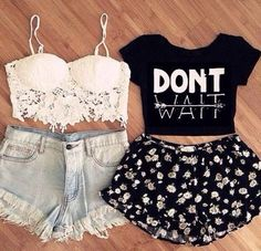 crop tops + floral + denim