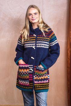 Forever amano : knitwear and clothing : fairisle coatigan blueberry
