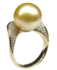 Golden South Sea Pearl Pave Ring