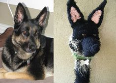 A knitted golf club cover of Franka, the black and tan German Shepherd.