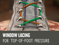 REI Expert Advice: How to Lace Hiking Boots - detail of the window lacing method to relieve top-of-foot pressure