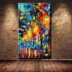 Aliexpress.com: Comprar Grande pintado a mano abstracta moderna de la pared pintura Rain Tree Road espátula pintura al óleo sobre lienzo de pared decoración la decoración del hogar de Imágenes de la pintura decorativa fiable proveedores en Lovely Arts home