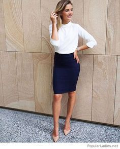 White blouse, navy skirt and nude shoes