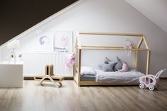 Bed house is an amazing bed for sleep and play. This adorable house bed will make your kids room a special place. This unique bed will be great idea for a gift or just for make The bed to be a favourite place for your child, where he can sleep, reading books, play,  spend time playing and just lying and watchin g cartoons. It looks like a small house. Go and look at www.adekostolarnia.pl for more great ideas and wooden bed frames.  - Children bed, house bed, toddler bed, kids teepee, wood…