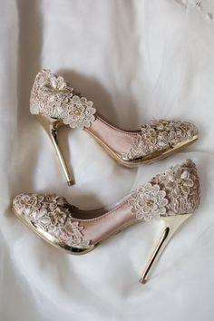 Vintage Flower Lace Wedding Shoes with Champagne Gold Applique Crochet Bridal…