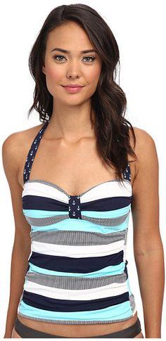 Tommy Bahama Bold Stripe & Mini Anchor Halter Cup Tankini