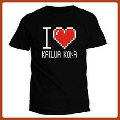 Idakoos I love Kailua Kona pixelated - US Cities - T-Shirt - Cities countries flags shirts (*Partner-Link)