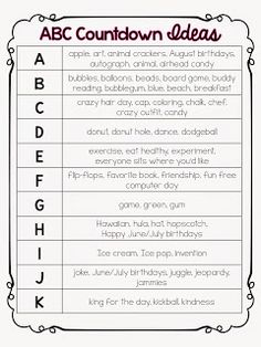 Mrs. Pauley's Kindergarten: ABC End of Year Countdown