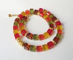 Glasketten - Kristall-Würfelkette Herbstkette - ein Designerstück von soschoen…