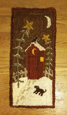 Primitive Folk Wool Hooked Rug Footprints to The Outhouse | eBay