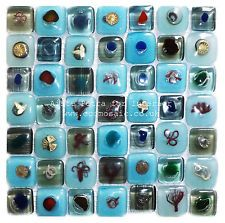 Turquoise Blue Brown  Fused Glass Eco Mosaic Tiles Sheets Borders Hand-made