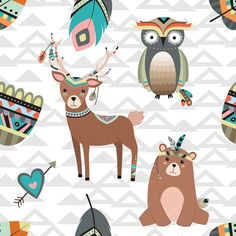 Woodland Tribal Fabric by the Yard - Tribal Woodland Creatures By Rocky Rocks Designs - Deer Cotton Fabric By The Yard With Spoonflower Woodsy Nursery, Woodland Critters, Woodland Creatures, Woodland Animals, Tribal Fabric, Rock Design, Cotton Quilts, Cotton Fabric, Tribal Wallpaper