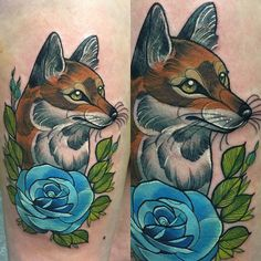 Here's the last one from One Day Gallery that I forgot to post  #cute #pretty #bluerose #fox #neotrad #neotradsub #redfox #wildlife #woodland