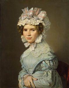 Christian Albrecht Jensen. Portrait of a Lady in Blue Dress,1824