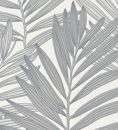 Papel pintado hojas exóticas de palmera grises y blanco - 1141798
