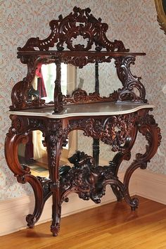 Museum Quality ~ EXTREMELY RARE American Rococo Revival Rosewood Marble-Top Étagère ~ Attributed to Alexander Roux, New York ~ ca. 1850's ~ ...